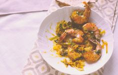 Herbed Shrimp in Saffron Sauce