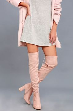 STYLECASTER | Winter Boots | Thigh High Boots | Chinese Laundry Krush pink suede over the knee boots