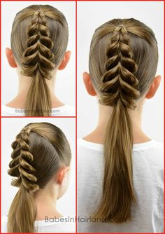 Christmas is quickly approaching, so we're excited to share this cute & easy pull-through braid in the shape of a Christmas tree! Watch our video to see how we do it. easy watches Christmas Tree Pull-Through Braid Little Girl Hairstyles, Pretty Hairstyles, Braided Hairstyles, Hairstyle Braid, Natural Hairstyles, Hairstyle Ideas, Kids Hairstyle, Braid Hair, Short Hairstyle