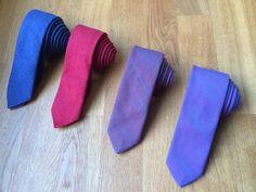 Artisara denim slim ties. Blue and red made of bio cotton, purple and blue/orange made of cotton. www.artisara.com