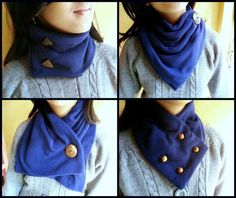 DIY Neck Warmers (Button placement changes the look). Love these because you don't have to put it over your head after you've just done your hair!