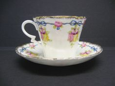Antique Royal Albert Crown China Tea Cup Saucer Floral Bows Brushed Gold | eBay
