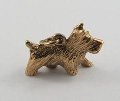 Dog 10K Gold Vintage Charm For Bracelet by SilverHillz on Etsy