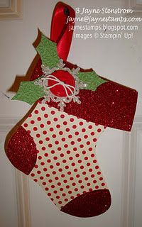 Gift Card Holder made from the Holiday Stocking Die and Red Glimmer Paper