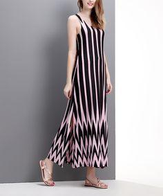 Look at this #zulilyfind! Pink & Black Chevron Scoop Neck Maxi Dress by Reborn Collection #zulilyfinds