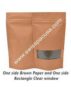 We offer durable 16oz/500g KRAFT WITH RECT. WINDOW (SUP) STAND UP POUCH WITH ZIPPER, which are completely recyclable and an environmentally friendly packaging solution.