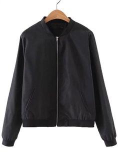 Black Rib-knit Cuff Pocket Plain Jacket