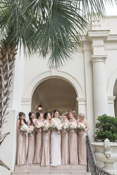 Photographer: C. Baron Photography | Event Planner: KG Weddings Bridesmaids, Bridesmaid Dresses, Wedding Dresses, Pale Pink, Pink And Gold, Designer Cakes, Bright Lights, Wedding Events, Floral Design