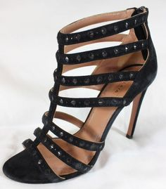 """~~~ UNTAMEABLE ~~~ ALAIA BLACK SUEDE LEATHER """"LASER CUT/CAGED"""" HEELS ~~~ 37.5 #Alaia #Strappy"""