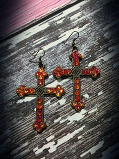 The Bling Box - Custom Made by Courtney - Cross Earrings with Fire Opal Swarovski Crystals, $32.99 (http://www.theblingboxonline.com/custom-made-by-courtney-cross-earrings-with-fire-opal-swarovski-crystals/)