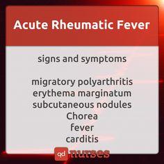 the signs and symptoms for acute rheumatic fever! Med Surg Nursing, College Nursing, Nursing School Tips, Nursing Tips, Nursing Notes, Nursing Schools, Nursing Profession, Ob Nursing, Nursing Career