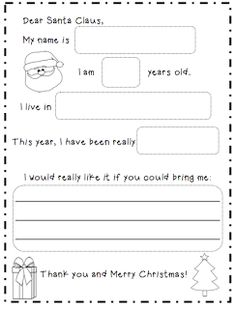 letter to santa template more letter to santa kindergarten writing ...
