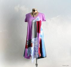 Patchwork Dress Hippie Clothes Rustic Mixed Colors Casual Day Dress Boho Chic Clothing Up Cycled Recycled Purple Festival Dress M 'ANNALISA'