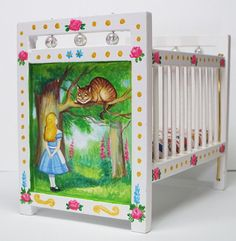 Alice in Wonderland hand painted dollhouse nursery bed crib furniture