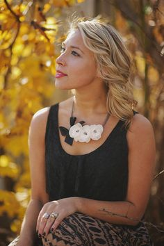 Triple Ivory Fabric Flower Necklace with Black Ribbon Detail on Etsy, $620.35