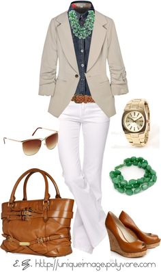 Outfit love, indigo denim blouse, white jeans, khaki blazer. Brighten it up with green accessories.