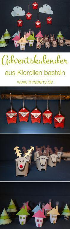 Adventskalender selber machen - aus Klorollen, Papier, Kleber und etwas Farbe könnt ihr ruckizucki diesen süßen Weihnachtskalender basteln. Dieses und weiter DIYs findet ihr auf www.mrsbery.de