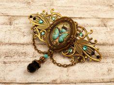 Große Schmetterling Haarspange in türkis schwarz von Schmucktruhe