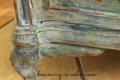 dreamingincolor: French Painted Patina Night Stand