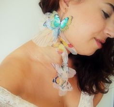Items similar to Statement Fluttery Cluster Long Butterflies Earring - Organza Silk SINGLE on Etsy