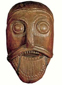 Carved face on Oseberg Cart, Slagen, Vestfold, 820 AD