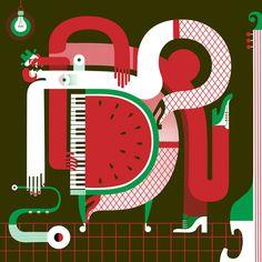 Mod Op Pop Watermelon Piano Art by Maria Corte