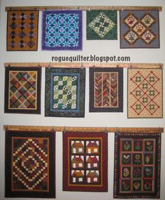 "If you like to make mini quilts with your leaders & enders, here's a neat way to display them. rogue quilter: Yardstick Gallery ""How-To"""