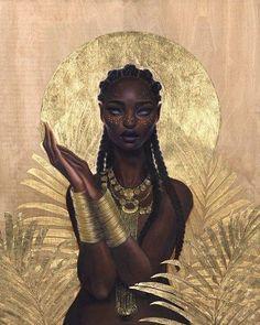 Solve jigsaw puzzle online with 120 pieces Art Black Love, Black Girl Art, Art Girl, Black Goddess, Goddess Art, African Queen Tattoo, African Warrior Tattoos, Black Art Painting, Black Girl Aesthetic