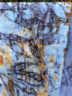 Rust and indigo printing