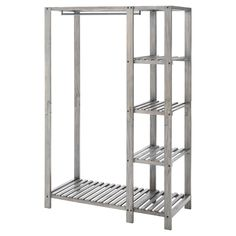 • multifaceted closet organizer<br>• wood construction with ash finish<br>• multiple slatted shelves<br>• slatted shoe rack<br>• metal hanger bar<br><br>Keep your clothes organized in style with the Wood Closet Organizer - Threshold™. This nifty closet shelving unit is an easy all-in-one model, with space for not only hanging garments, but also multiple shelves for shoes, accessories and more.
