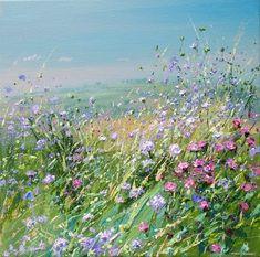 British Artist Mark PRESTON-Meadow Flowers, Bonsall Moor