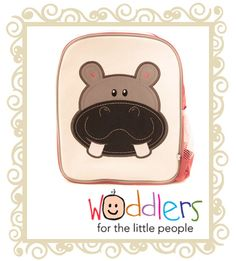 Woddlers Toddler Back pack Hippo  Woddlers back pack - Happy Hippo. These gorgeous backpacks are a great size for toddlers to carry around toys and snacks or for a kinder or daycare bag. * One large zip comparment with a smaller compartment inside. * Easy to clean laminated canvas (front only). * Embroidered design. * Strong mesh pocket. * Created with strong Nylon exterior. * Name tag on back. Bag Dimensions: Height: 30cm Width: 28cm Depth: 12cm  Now $16.95 Was $ 32.95 Toddler Backpack, Jungle Safari, Little People, Gifts For Boys, Big Boys, Toddlers, Baby, Arts And Crafts, Packing