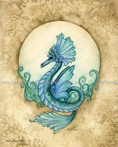 Water Element sea dragon 8X10 PRINT by Amy Brown