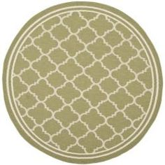 @Overstock.com - Poolside Green/ Beige Indoor Outdoor Rug (5'3 Round) - Add softness to your porch, patio, or deck with this round indoor/outdoor rug. This sage green rug with a geometric pattern is crafted from polypropylene for long-lasting beauty and durability and is resistant to mildew, mold, and the elements.   http://www.overstock.com/Home-Garden/Poolside-Green-Beige-Indoor-Outdoor-Rug-53-Round/6551537/product.html?CID=214117 $62.99