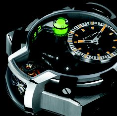 This watch, by Concord, uses green phosphorescent nanoparticles to show you the three day power reserve. #Neat   http://mywat.ch/d