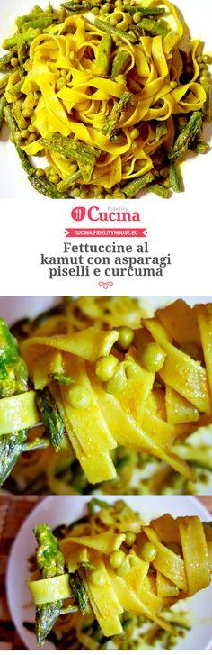 Fettuccine al kamut con asparagi piselli e curcuma