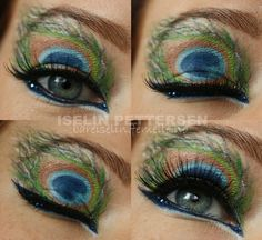 Peacock feather inspired eye make-up with blue crystal accents.