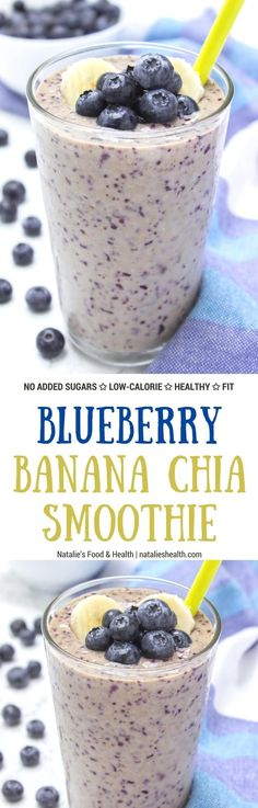Blueberry Banana Chia Smoothie is the ultimate morning breakfast smoothie! It's HEALTHY, deliciously creamy and SO satisfying + refined sugar-free and packed with nutrients and powerful antioxidants. | natalieshealth.com