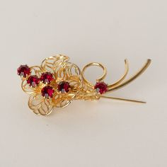 Vintage Gold Tone Brooch with Red Rhinestones by TwiceBakedVintage, $13.00