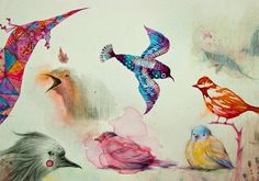 Barcelona-based illustrator Vorja Sánchez depicts comically surreal storybook creatures that look like a cross between mutant dinosaurs and shadowy demons—but also captures the very lifelike spirit of birds and other animals. Working with a variety of mediums from pen and link to watercolor or spray