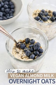 Vegan Overnight Oats (Make-Ahead Breakfast!) Vegan Overnight Oats are an EASY make-ahead breakfast, made with dairy-free almond milk. They are naturally gluten-free, and can be made up to 5 days in advance for a fast meal. Overnight Oats Almond Milk, Dairy Free Overnight Oats, Oatmeal Almond Milk, Overnight Oatmeal, Make Ahead Breakfast, Breakfast Recipes, Vegan Breakfast, Breakfast Ideas, Brunch Ideas