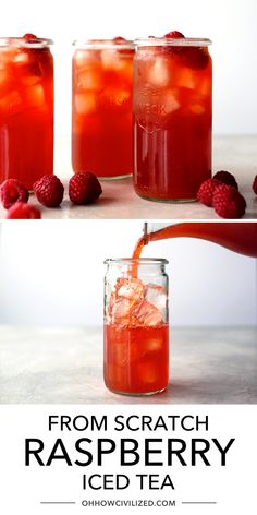 This delicious raspberry iced tea is perfect for summertime. Find out how you can easily make this delicious iced tea from scratch here. Perfectly sweet, this delicious tea is the perfect balance of raspberries and tea. Raspberry Ice Tea Recipe, Raspberry Iced Tea, Hot Tea Recipes, Drink Recipes, Tea Sandwiches, Finger Sandwiches, Homemade Iced Tea, Fruit Tea, Herbal Teas
