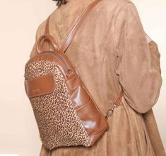 8d924d0b0201 Small Brown Leather Backpack, Multi-way Leopard Print Leather Shoulder Bag  Crossbody, Mini Backpack