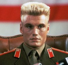 Dolph Lundgren in Rocky 4 as Ivan Drago. i would also love to see him as Duke Nukem cause he was born to play him.
