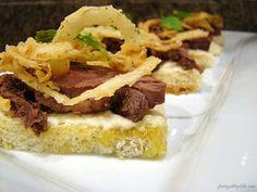 Beef Tenderloin Crostini with Horseradish Cream and Crispy Onion Straws - From Gate to Plate