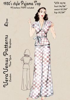 Free repro pattern of a 1930s pajama top from Vera Venus Patterns