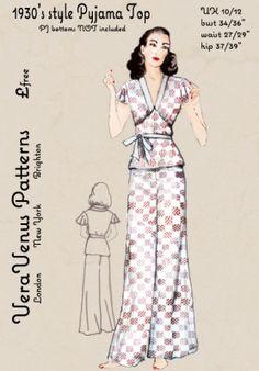 Free repro pattern of a 1930s pajama top from Vera Venus Patterns. Nx