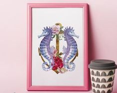 Seahorse Print Watercolor Seahorse on Heraldic Lily Nautical