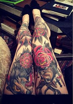 The tattoos on these legs go together perfectly. #InkedMagazine #leg #tattoos #legsleeve