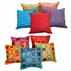 Get The Combo Of 10 Halowishes Lace Patch Work  Cotton Cushion Cover Set 445